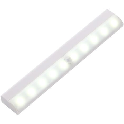Armario LED de luz, sensor de movimiento 10 LED del palillo en cualquier lugar lampara del armario Bajo-iluminacion del gabinete, Gabinete luz de la noche portatil caliente / fria luz de la barra de armario, gabinete, Armario, Blanco, 1pcs