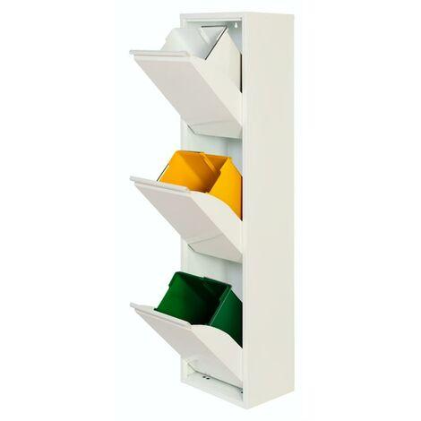 Armario Metálico Reciclaje PAT 3 Blanco/Gris 33,5x25x136H Blanco