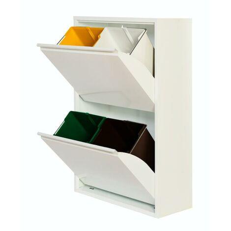 Armario Metálico Reciclaje PAT 4 Blanco/Gris 60x25x92H Gris