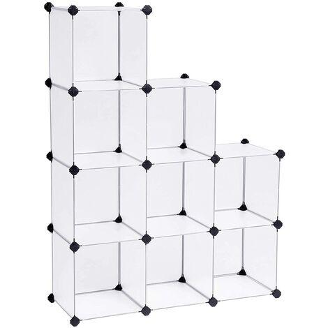 Armario Modular de Plástico PP, Estantería, Organizador para Ropa con 9 Cubos, 93 x 31 x 123 cm LPC115S