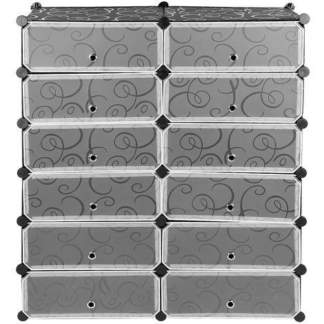 Armario Modular Plástico Estantería 12 Cubos con Puertas Montaje en Bricolaje