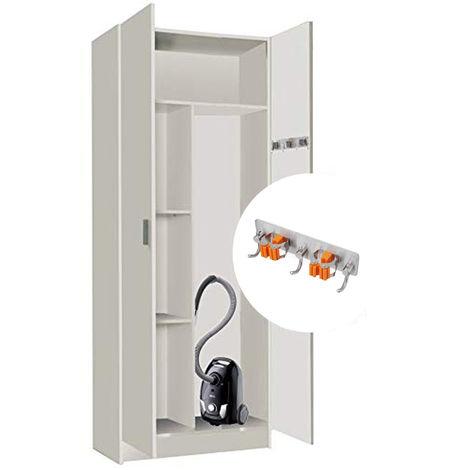 Armario Multiusos escobero 2 Puertas, multicolgador Incluido, Medidas: 180x73x37cm