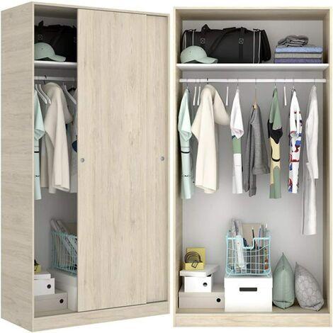 Armario Organizacion puertas correderas 100 cm de ancho ALTO 204cm Natural