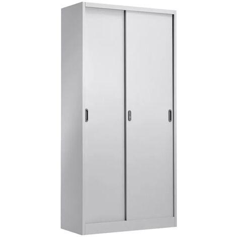Armario OTELO, metálico, puertas correderas, gris claro, 90x40x185 cms