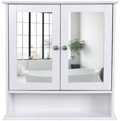 Armario para baño Organizador con 2 puertas y espejo 56 x 13 x 58cm Blanco