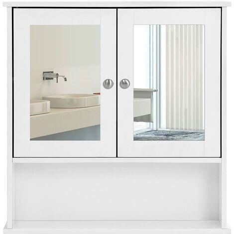 """main image of """"Armario para baño Organizador con 2 puertas y espejo 56 x 13 x 58cm Blanco LHC002 - Beige"""""""
