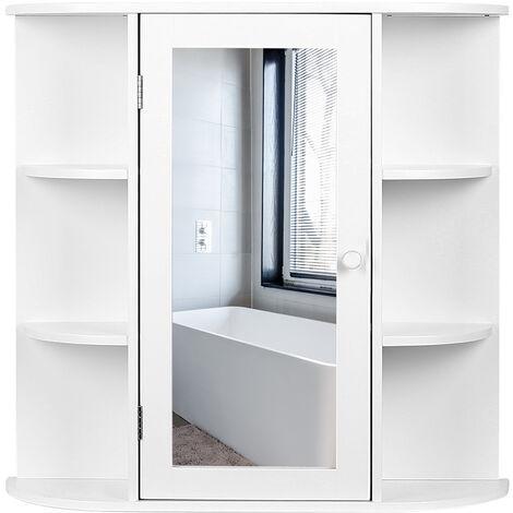 Armario para baño Tres pisos con 1 puertas y espejo 60*17*58cm Blanco