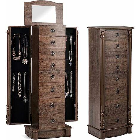 Armario para Joyas Caja Joyero 37x23x98cm Mueble de Joyas con Espejo 7 Cajones 2 Puertas Laterales