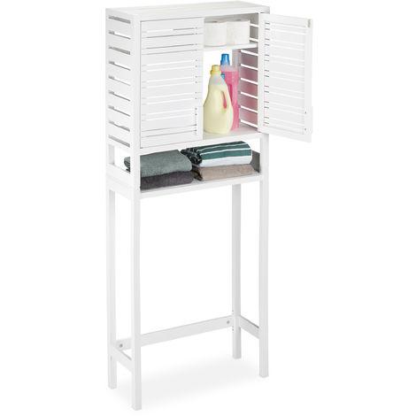 Armario para la lavadora, Mueble alto, Con puertas, Bambú, Blanco, 165 x 66 x 26 cm