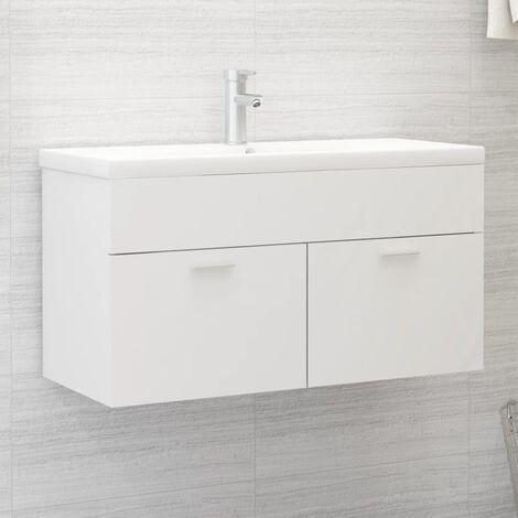 Armario para lavabo aglomerado blanco 90x38,5x46 cm - Blanco