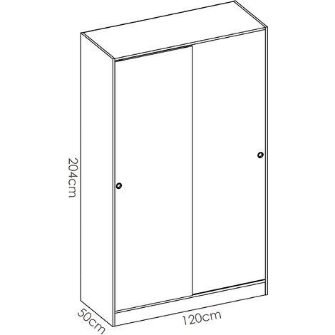 Armario Puertas correderas 120 cm de ancho ALTO 204cm color Natural + Blanco Brillo