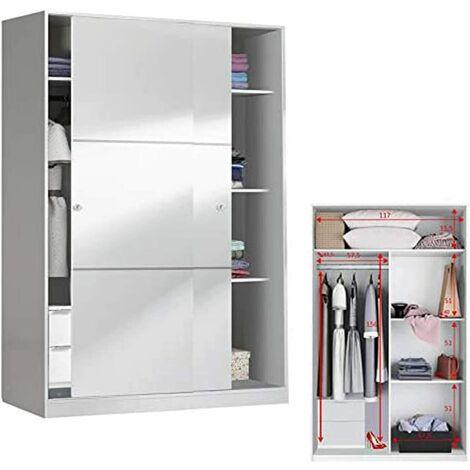 Armario Ropero Oficina 2 puertas correderas 120 con fondo reducido de 50 cm (CAJONERA INCLUIDA)