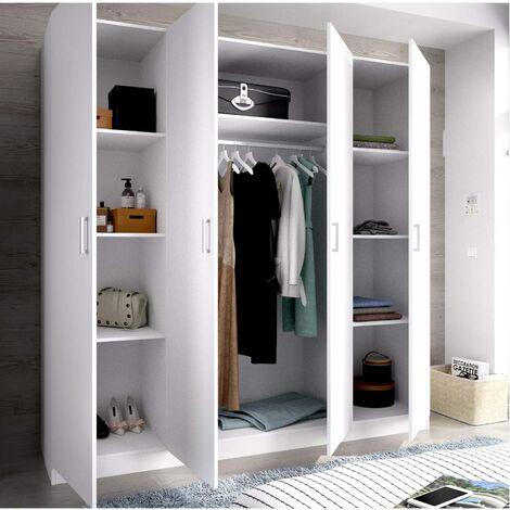 Armario ropero Puertas abatibles , Oficina o almacenaje Blanco, Medidas 200 cm (Largo) x 215 cm (Alto) x 52 cm (Fondo)