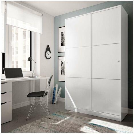 Armario ropero puertas correderas blanco 120 cm de ancho Color Blanco brillo