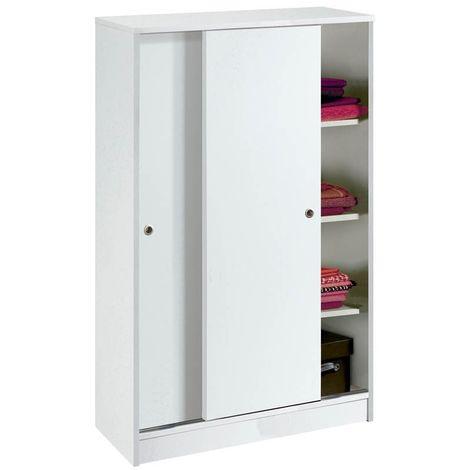 Armario Turin 1 blanco brillo Puertas Correderas 74x120x33 cm