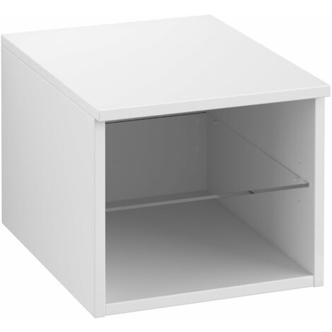 Armario Villeroy & Boch Legato B26100, 400x340x500mm, modelo izquierda, para lavabo de sobremesa, repisa de cristal, color: Blanco brillante - B26100DH
