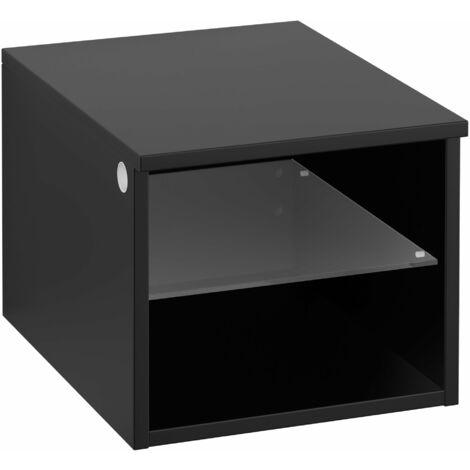 Armario Villeroy & Boch Legato B26101, 400x340x500mm, modelo versión derecha y central, para lavabo con encimera, repisa de cristal, color: Negro Mate Laca - B26101PD