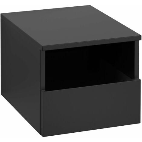 Armario Villeroy & Boch Legato B26300, 400x340x500mm, modelo izquierda, para lavabo de sobremesa, extraíble, color: Negro Mate Laca - B26300PD