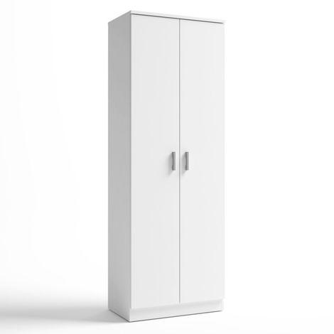 Armario zapatero auxiliar blanco 2 puertas 6 estantes 60x171x35