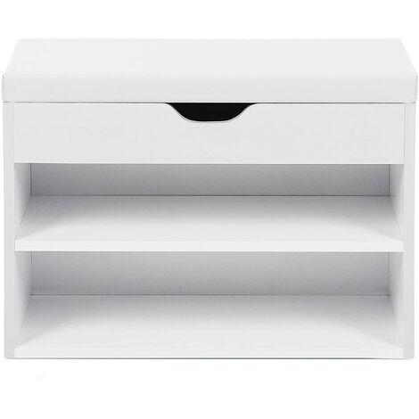 Armario zapatero Banco zapatero Estantería de 2 niveles con cojín acolchado y cajón 60 x 30 x 44cm Blanco