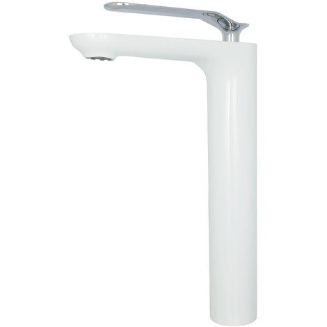 Armatur Aufsatzwaschbecken hoch Wasserhahn Weiß Chrom Waschtischarmatur Einhebelmischer Waschbeckenarmatur Bad
