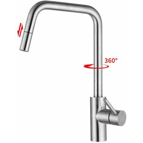 Armatur Ausziehbar Küchenarmatur mit Brause Wasserhahn Edelstahl Spültischarmatur Matt für Küche