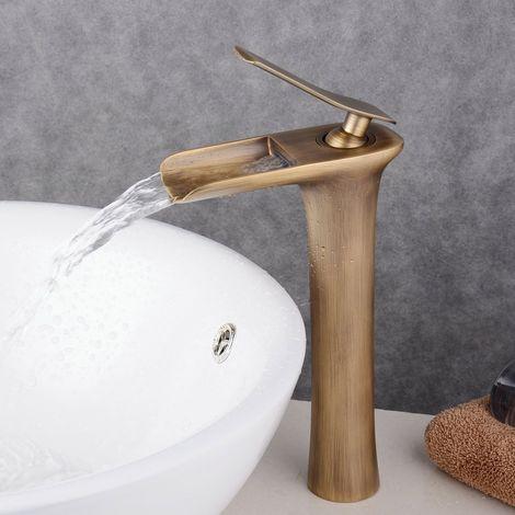 Armatur für Waschbecken, antikes Messing, hoch, Waschtischarmatur