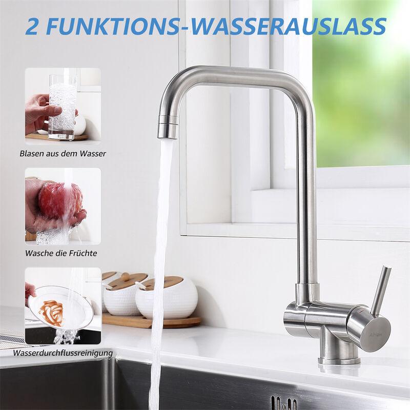 Armatur Küchenarmatur 360° drehbar Vorfenster Umklappbar Wasserhahn aus  Edelstahl Spültischarmatur für Küche, Matt