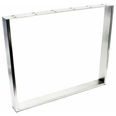 Armature de table 90x73 cm Acier affiné V2A Pied de table Piètement de table Patins en feutre