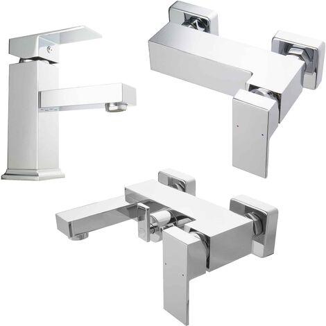 Armaturen Set Serie eckig Mischbatterie Wasserhahn