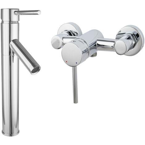 Armaturenset Armatur Waschschalen Duscharmatur Einhandmischer Aufputz