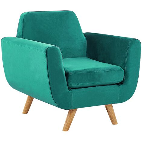 """main image of """"Armchair Green Retro Velvet Upholstery Seat Cushion Removable Cover Bernes"""""""