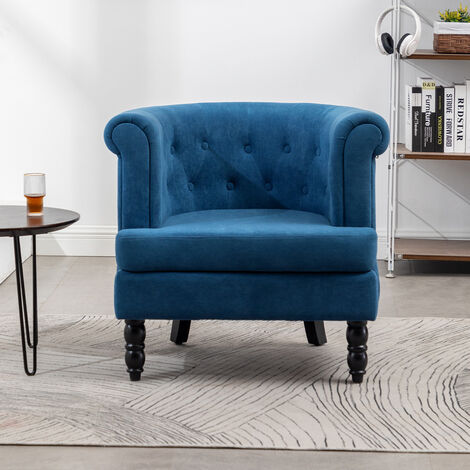 Armchair, Soft, Comfortable, Removable Cushion, Curved Club Chair Blue