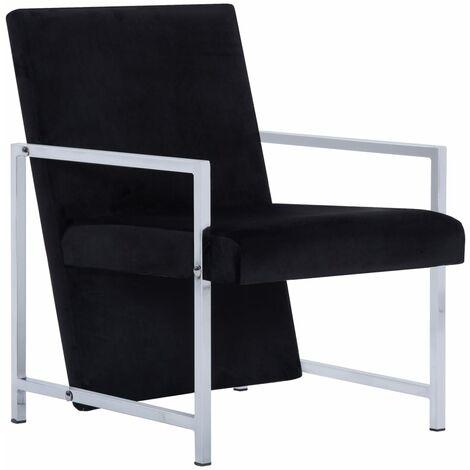 Armchair with Chrome Feet Black Velvet