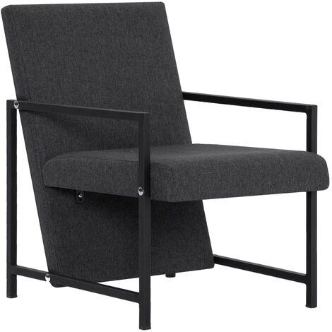 Armchair with Chrome Feet Dark Grey Fabric