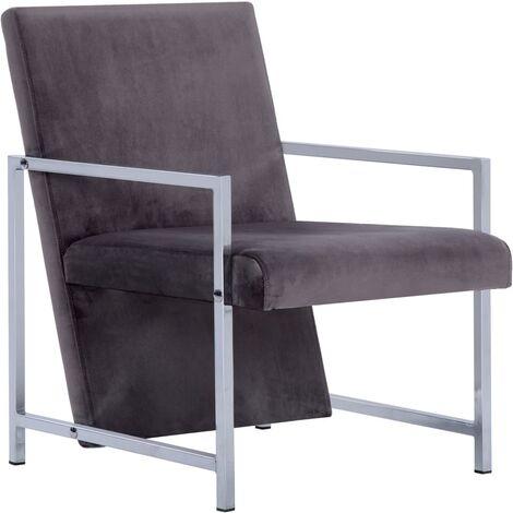 Armchair with Chrome Feet Dark grey Velvet