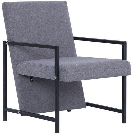 Armchair with Chrome Feet Light Grey Fabric