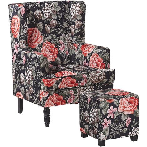 Armchair with Footstool Floral Pattern Black SANDSET