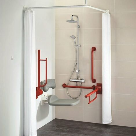 Armitage Shanks Contour 21 Doc M Pack with TMV3 Exposed Shower Valve and Dual Shower Kit - Red Rails