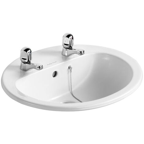 Armitage Shanks Orbit 21 Countertop Basin with Overflow 550mm Wide - 2 Tap Hole