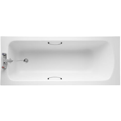 Armitage Shanks Sandringham 21 1600mm x 700mm Bath with Handgrips & Tread - 2 Tap Hole