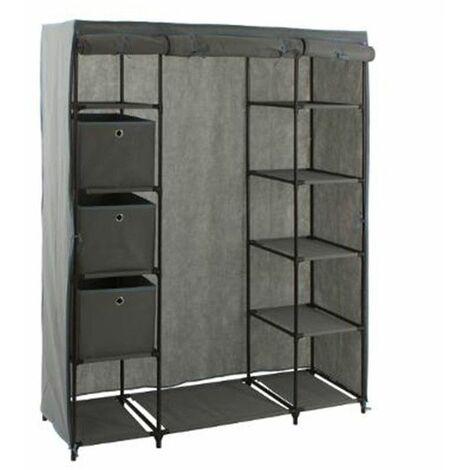 Armoire 1 penderie et 10 étagères + 3 boites - 133 x 44 x 170 cm - Polypropylène et métal - Livraison gratuite