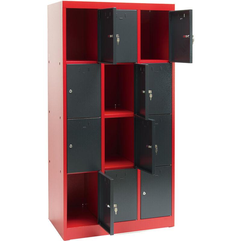 Armoire 12 casiers - collectivités - atelier - école -Rouge/Gris - DEMA