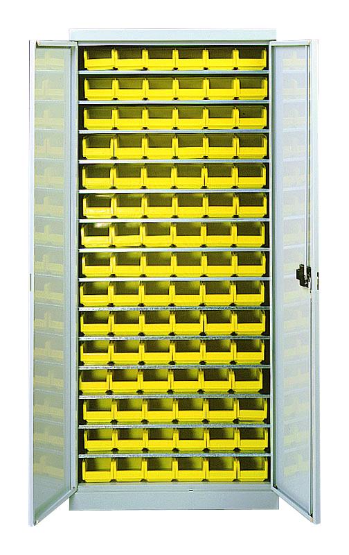 Novap - Armoire 14 tablettes avec portes équipée de bacs 1L - 5201275