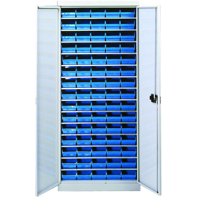 Armoire 14 tablettes avec portes équipée de bacs 1L - 5201336