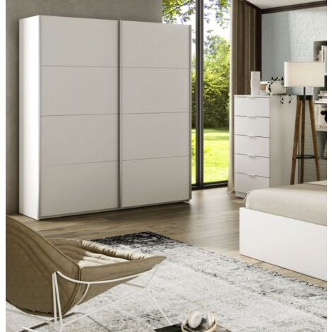 Armoire 150x200H cm Blanc mat avec 2 portes coulissantes   Blanc
