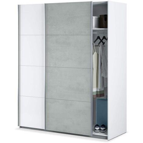 Armoire 150x200H cm Blanc mat et Ciment avec 2 portes coulissantes   Couleur