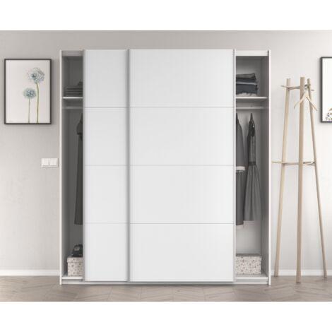 Armoire 180x200H cm Blanc brillant 2 portes coulissantes   Blanc brillant