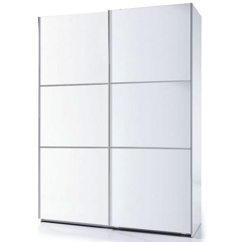 Armoire 2 Portes Avec Penderie Et 1 Tablette De Rangement Coloris Blanc Brillant 200 X 150 X 63 Cm Pegane 27for Arc150bo