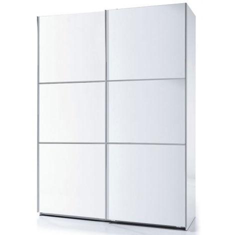 Armoire 2 portes avec penderie et 1 tablette de rangement coloris blanc brillant - 200 x 150 x 63 cm -PEGANE-